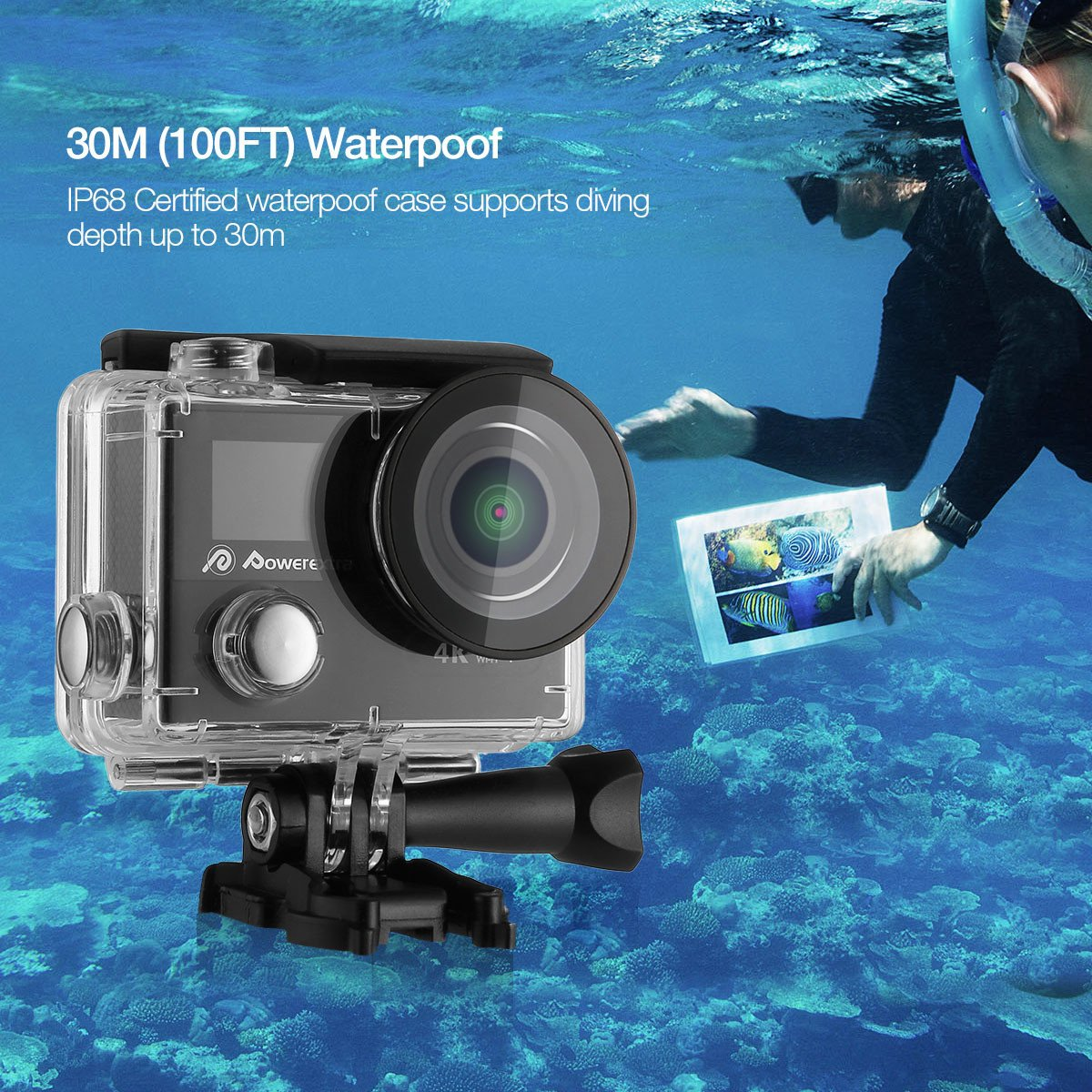 Powerextra Camera Sport 4K Caméra d'Action Ultra HD Caméscope Casque Imperméable /2 Inch Ecran LCD /Grand Angle 170°/12MP & WIFI /Étanche 30M /2.4G Télécommande/19 KITS Accessories