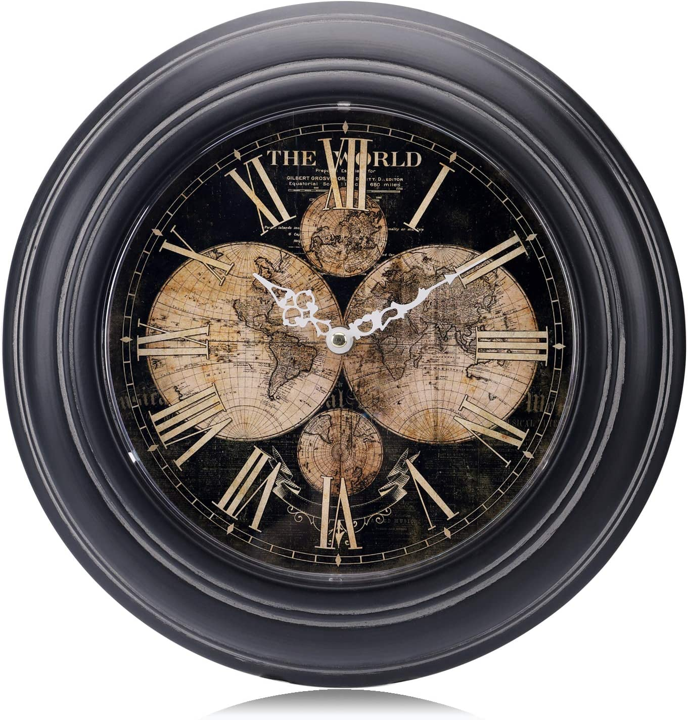 Lafocuse Metal World Map Wall Clock Roman Numerals Silent Black Quartz Clocks for Living Room Lounge Bedrooms 13""