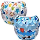 Luxja 赤ちゃん水着 2点セット 0~3歳 サイズ調節可能 再利用可能 ピーチ+カラフルスター