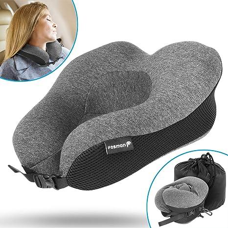 Fosmon Viaje Cuello Almohada, Soft y cómodo Memory Foam Neck, Head & Chin Support