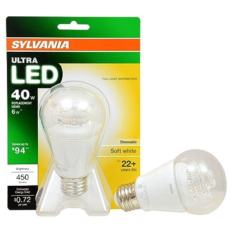 Sylvania LED Ultra suave blanco 40 W Replacement 6 W A19 bombilla | 79643
