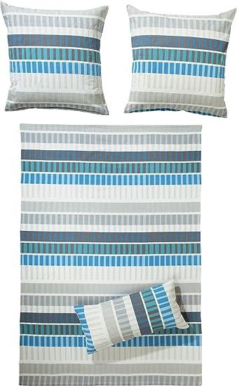 Erwin Müller Bettwäsche Seersucker Blau Silber Weiß Größe 155x220 Cm