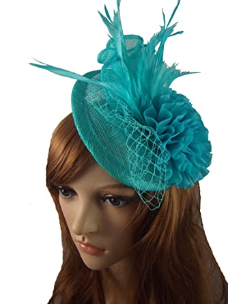 Chapter 78 Boutique Turquoise Blue Disc Sinamay Ruffle Fascinator -  Occasion Wedding Races  Amazon.co.uk  Clothing 86cb586ce67