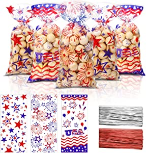 120 Independence Day 4th of July Party Bags Blue Red Patriotic Cellophane Treat Bags Plastic Goodie Candy Favor Bags with 200 Silver and Red Twist Ties for American Memorial Day Party Decorations