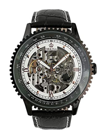 9d74e01c1 Carrie Hughes Men Black Steampunk Automatic Mechanical Skeleton Luminous  Hand Stainless Steel Watch CH129