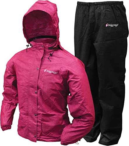 Frogg Toggs Women's All Purpose Rain Suit, Cherry/Black