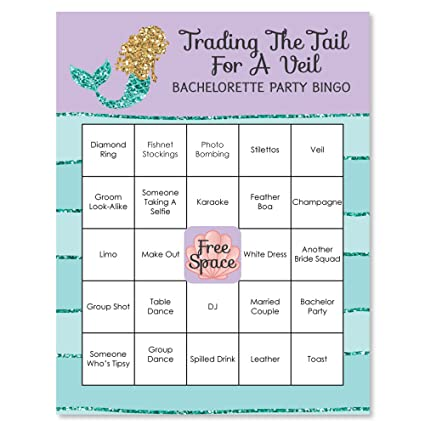 trading the tail a veil mermaid bachelorette bridal shower bingo game bar bingo game