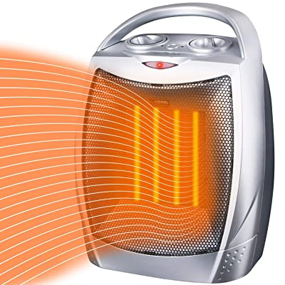 Space Heater Electric Heater Portable Ceramic Heater with Adjustable Thermostat and Overheat Protection ETL Listed for Home Office Kitchen Bedroom and Dorm, 750/1500 Watt