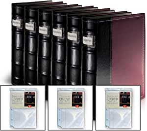 Bellagio-Italia Burgundy DVD Storage Binder Set - Stores Up to 384 DVDs, CDs, or Blu-Rays - Stores DVD Cover Art - Acid-Free Sheets