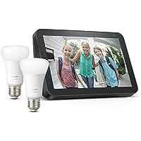 Echo Show 8, Tela de color antracita + Philips Hue White Pack de 2 bombillas LED inteligentes, compatible con Bluetooth…