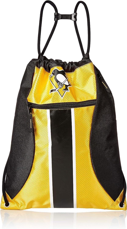 FOCO NHL unisex-adult Big Stripe Zipper Drawstring Backpack