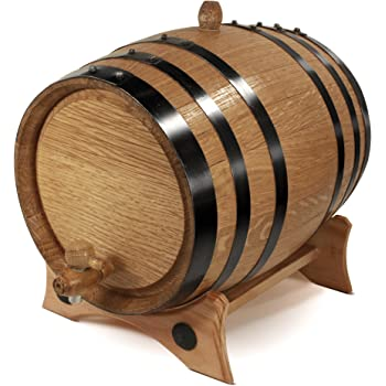 2 Liter Whiskey Oak Barrel for Aging – Golden Oak Barrel with Black Steel Hoops – Aging and Recipes Digital Guide included