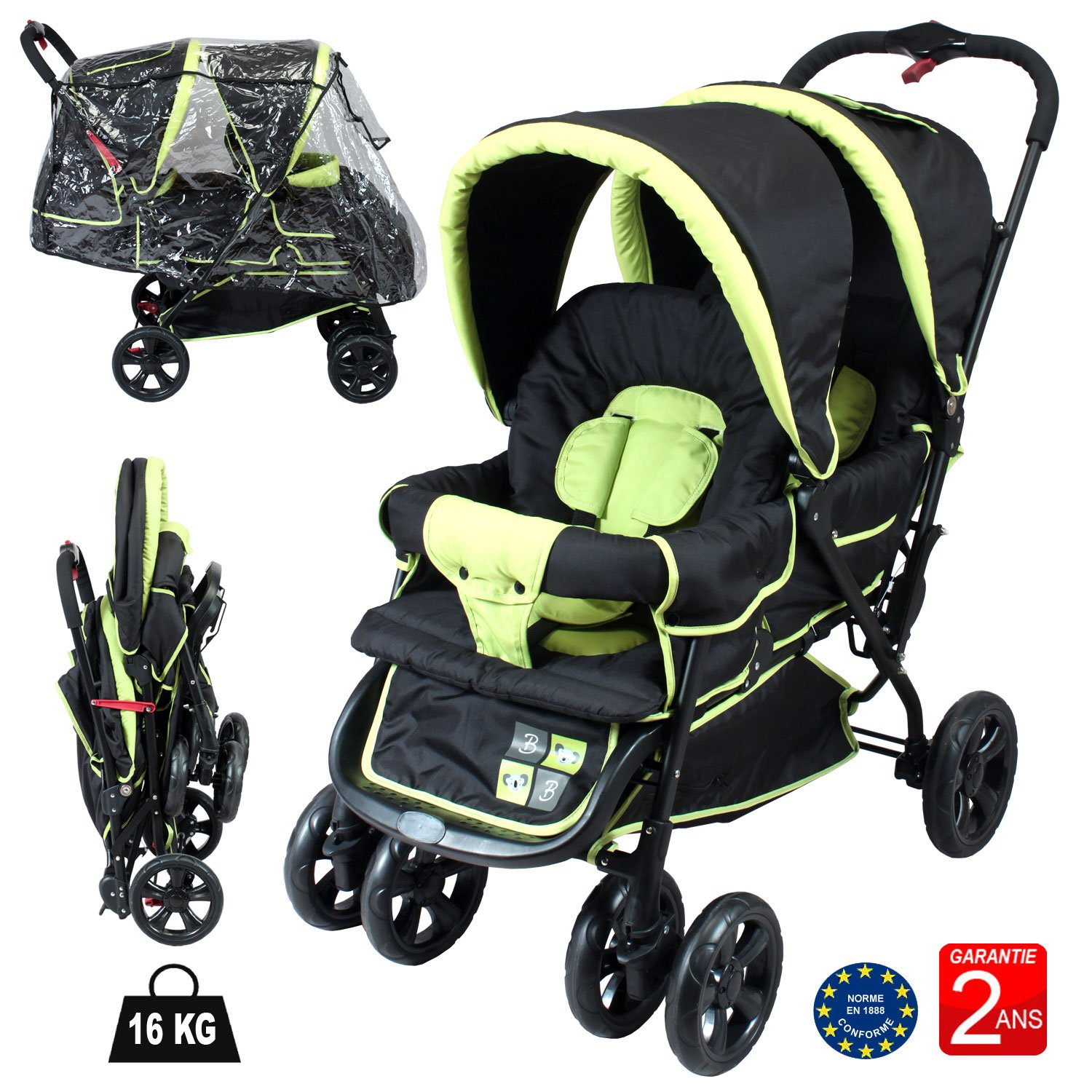 Double Buggy Near All Ages Black Anis BEBEACHAT