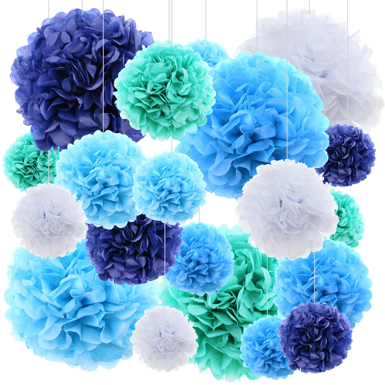 (blue) - 20 ct Tissue Paper flowers pom poms wedding party decor - Blue  ブルー B073F59HTQ