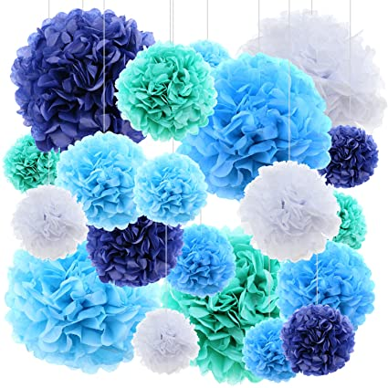 Amazon 20 ct tissue paper flowers pom poms wedding party decor 20 ct tissue paper flowers pom poms wedding party decor blue mightylinksfo Image collections