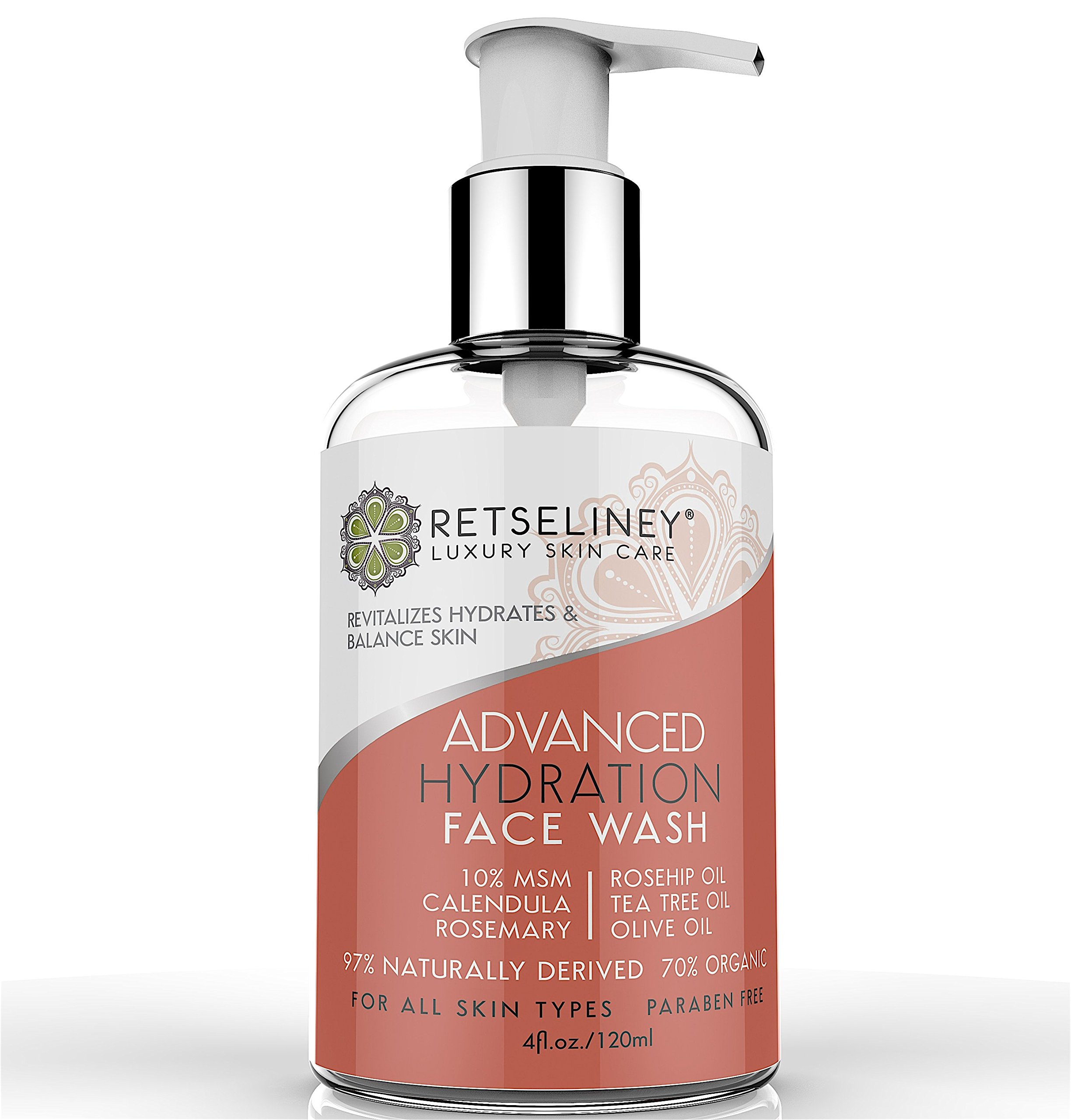 Retseliney Hydration Face wash with Tea Tree Oil, 10% MSM, Calendula, Deep Cleanse Pores, Natural and Organic Treatment for Acne and Blemishes, Anti-Aging & Anti-Wrinkles Facial Cleanser