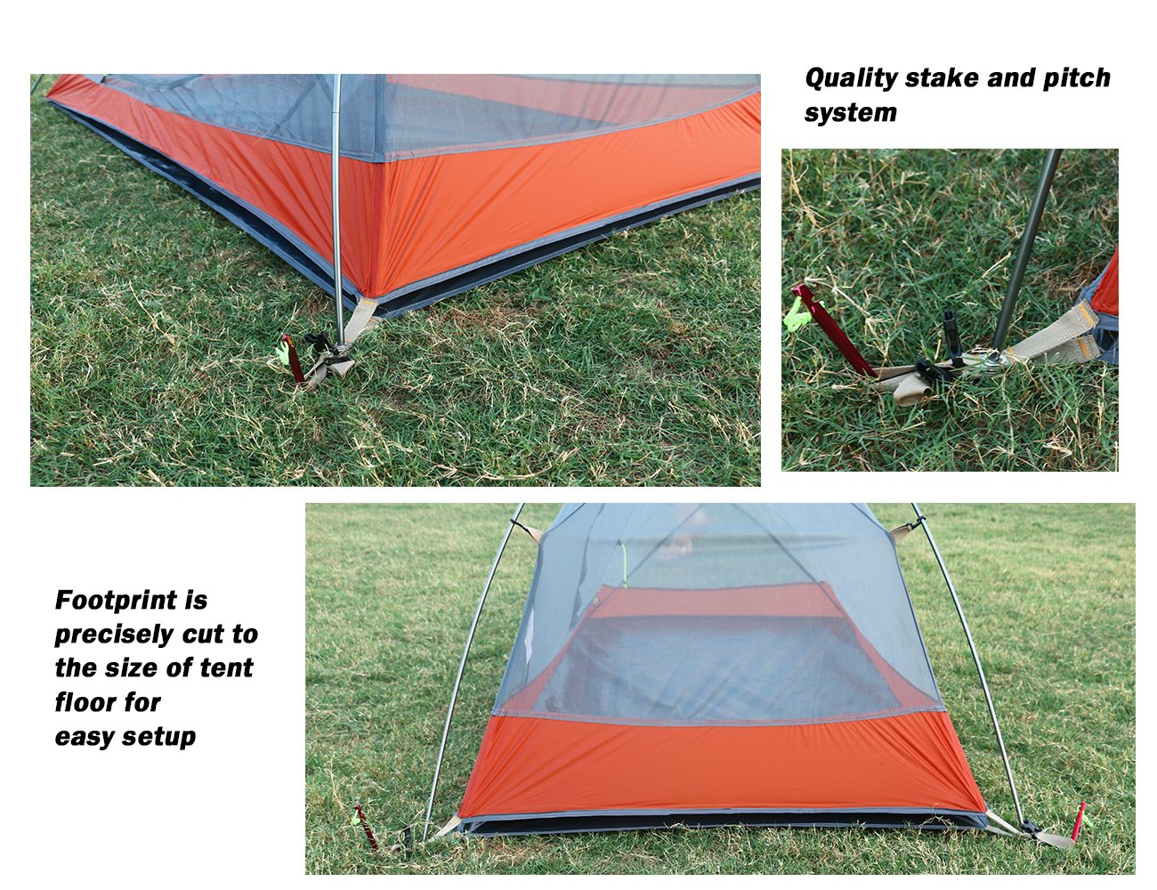 Luxe Tempo Ultralight 1 Person Tent with Footprint 3.3lb Backpacking Hiking SIL Nylon Solo Hiking Bike Motorcycle Camping