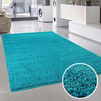Entzuckend Teppich Uni Langflor Shaggy Modern Einfarbig Rechteckig Wohnzimmer  Schlafzimmer, Farbe:Türkis, Größe In