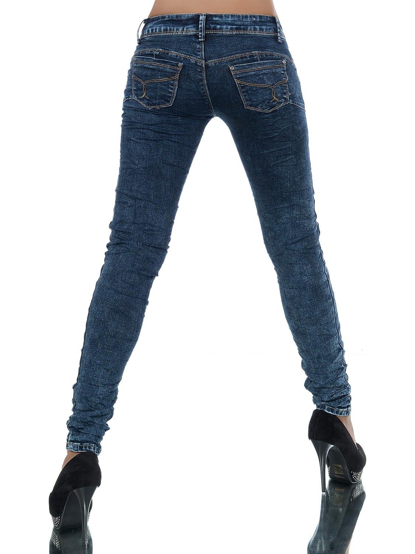 L434 Damen Jeans Hose Hüfthose Damenjeans Hüftjeans Röhrenjeans Röhrenhose Röhre