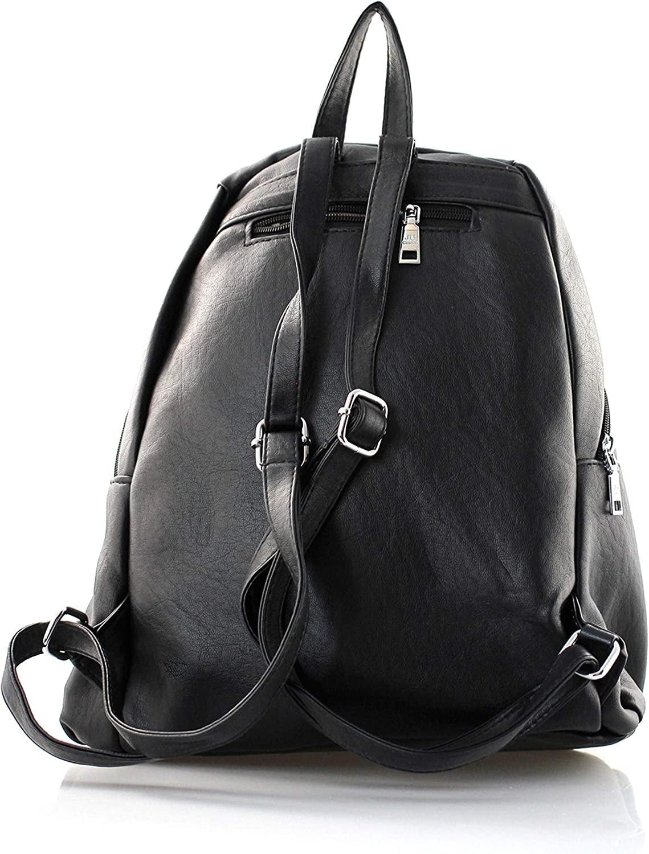 stilvoller Damen Rucksack Tasche Rock Style Stern Motiv schwarz