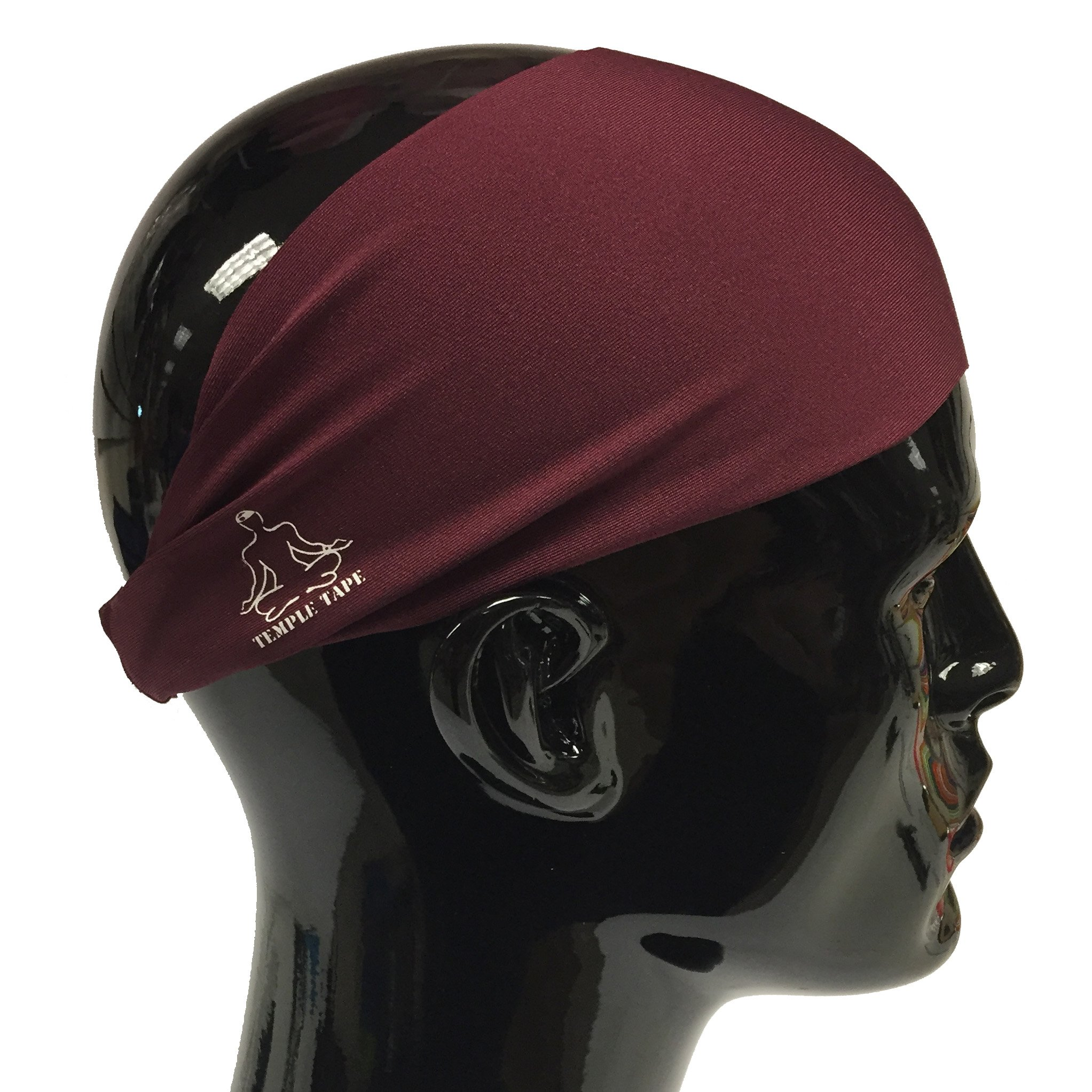 Temple Tape Headbands for Men and Women - Mens Sweatband & Sports Headband Moisture Wicking Workout Sweatbands for Running, Cross Training, Yoga and Bike Helmet Friendly - Burgundy