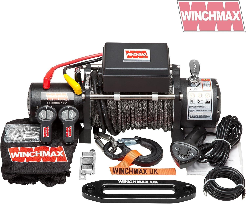 Winchmax Cabrestante eléctrico de grado militar de 12 V, cuerda Dyneema, doble mando a distancia inalámbrico