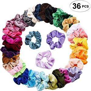 36 Pcs Hair Scrunchies Velvet Elastic Hair Bands Scrunchy Hair Ties Ropes  Scrunchie for Women or c89a57359e9