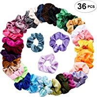 36 Pcs Hair Scrunchies Velvet Elastic Hair Bands Scrunchy Hair Ties Ropes  Scrunchie for Women or 9abebadf0db