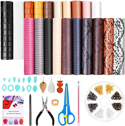 32 Pieces Leather Earring Making Kit Includes 6 Styles Faux Leather Sheets for Earrings DIY Bows and Crafts Leather for Earrings Making Supplies Templates Faux Pearls and Complete Tools 6.3 X 8.3 inch