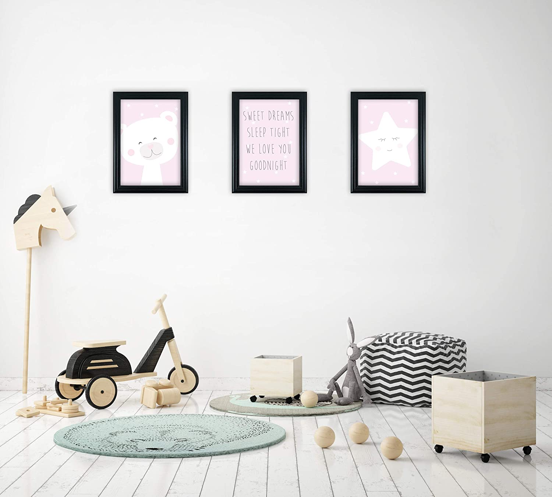 Ideal Child Bedroom /& Nursery Decor Fabian Roo 3pc Hand Drawn Animal//Safari//Jungle Art Prints