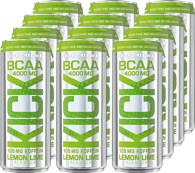 Body Attack BCAA Kick, Bebida BCAA con aminoácidos, cafeína, vegana, paquete de 12, Lima Limon (12x 330ml + depósito (12x 0,25€))