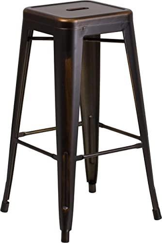Flash Furniture 30 High Backless Distressed Copper Metal Indoor-Outdoor Barstool