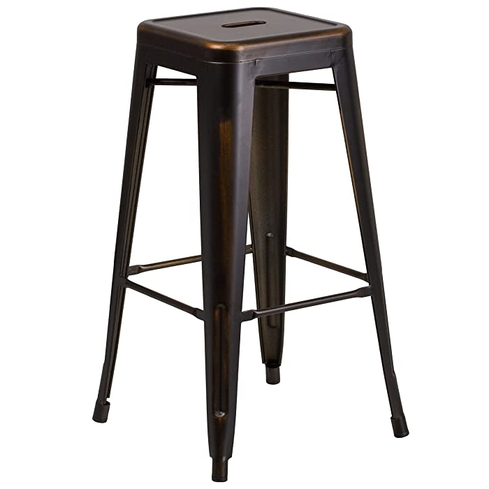 Flash Furniture 30'' High Backless Distressed Copper Metal Indoor-Outdoor Barstool