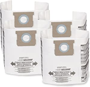 WORKSHOP Wet Dry Vacuum Bags WS32090F2 Fine Dust Collection Shop Vacuum Bags (2-Pack / 4 Shop Vacuum Bags), Bag Filter For WORKSHOP 5-Gallon To 9-Gallon Shop Vacuum Cleaners