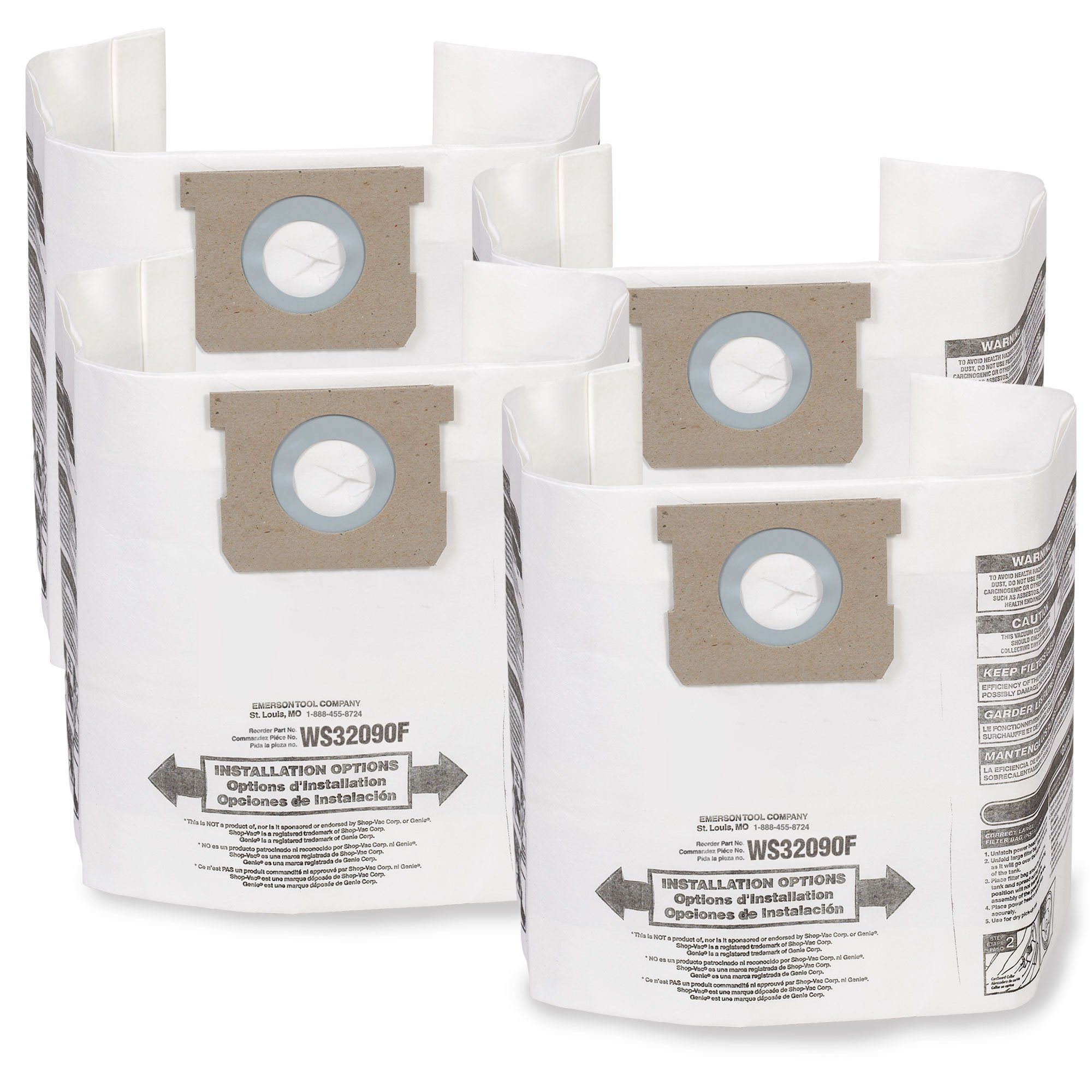 WORKSHOP Wet Dry Vacuum Bags WS32090F2 Fine Dust Collection Shop Vacuum Bags (2-Pack / 4 Shop Vacuum Bags), Bag Filter For WORKSHOP 5-Gallon To 9-Gallon Shop Vacuum Cleaners by WORKSHOP Wet/Dry Vacs (Image #1)