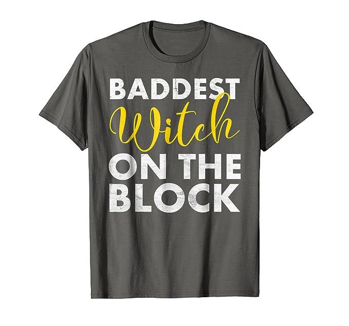 2ca1bef3c505 Mens Funny Halloween Shirt For Women Baddest Witch On The Block 2XL Asphalt