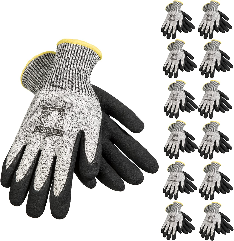 JORESTECH Safety Work Gloves Grey HPPE Knitted Fiber with Black Nitrile Sandy Finish Coating EN-388 Level 5 One Pair GD-03 Size 8-M