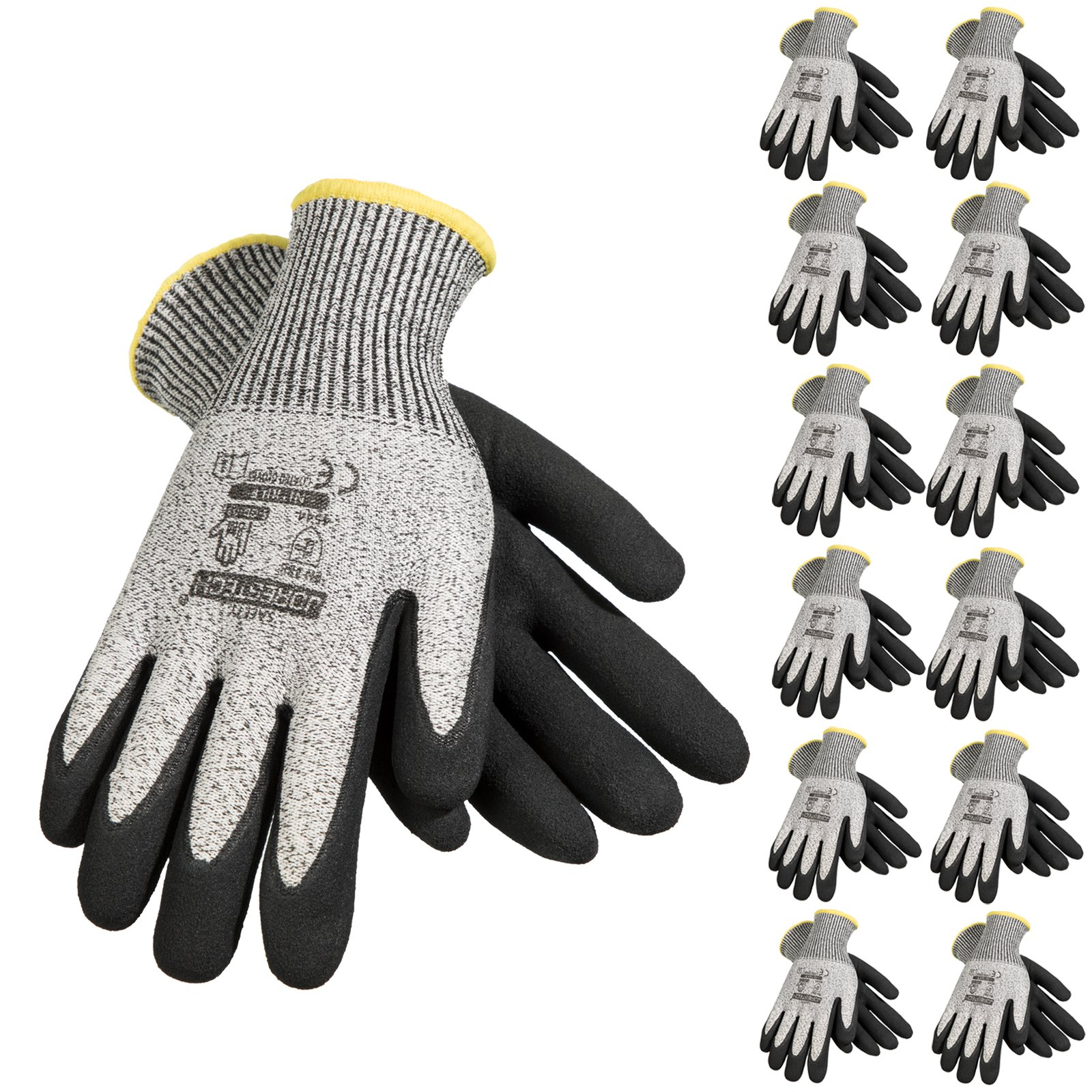 JORESTECH Palm Dipped Nitrile Coated Seamless Knit Work Gloves PPE Hand Protection Blade Cut Resistance Level 5 (Extra Large) Pack of 12,Black, Grey