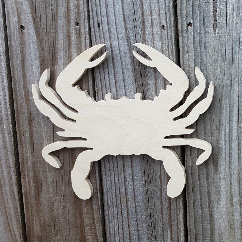 Marine Monogram Beach Wreath Crab Wall Hanger Beach Door Hanger Unfinished Wood Crab Monogram Hanger Crab Wreath
