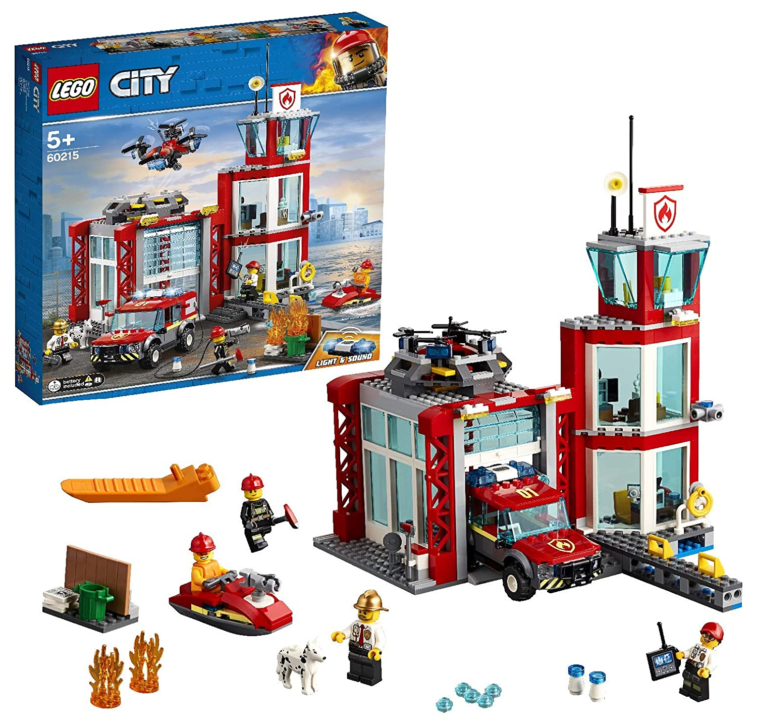 LEGO 60215 City Fire Station Building Set with Fire Toy Truck Water Scooter and Drone Firefighter Toys for Kids', Multi-Colour