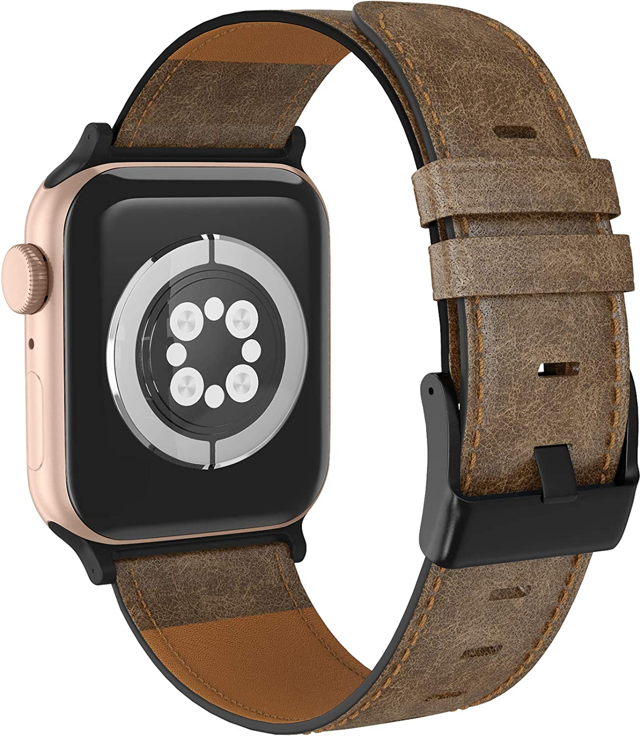 LORDSON Leather Band Compatible with Apple Watch Band 38mm 40mm, Vintage Genuine Replacement Watch Strap Wristband Man Women Compatible with iWatch Series SE 6/5/4/3/2/1