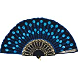 Amajiji Folding Fans for Women,Handmade Elegant Colorful Embroidered Flower Peacock Pattern Sequin Fabric Folding Fans (Blue)