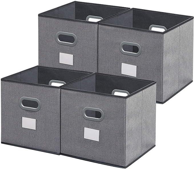 homyfort Cubos de Almacenaje 4 pcs, Cajas Plegables de Tela con ...