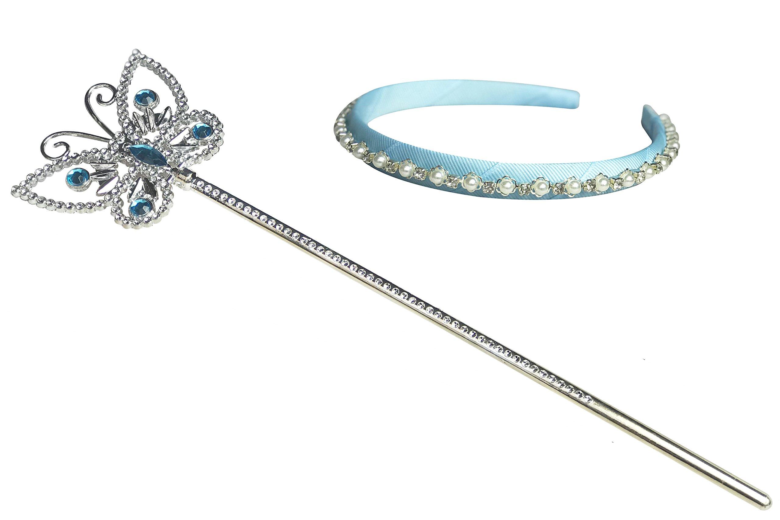 Kuzhi Frozen Elsa Crown Tiara and Wand Set – Silver Heart Jewel (Cinderella Butterfly)