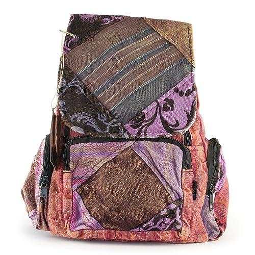 Fair Tamaño pequeño mochila Patchwork Trade Gringo Festival de flores de Shade Tree mochila algodón hippy con texto: Amazon.es: Zapatos y complementos