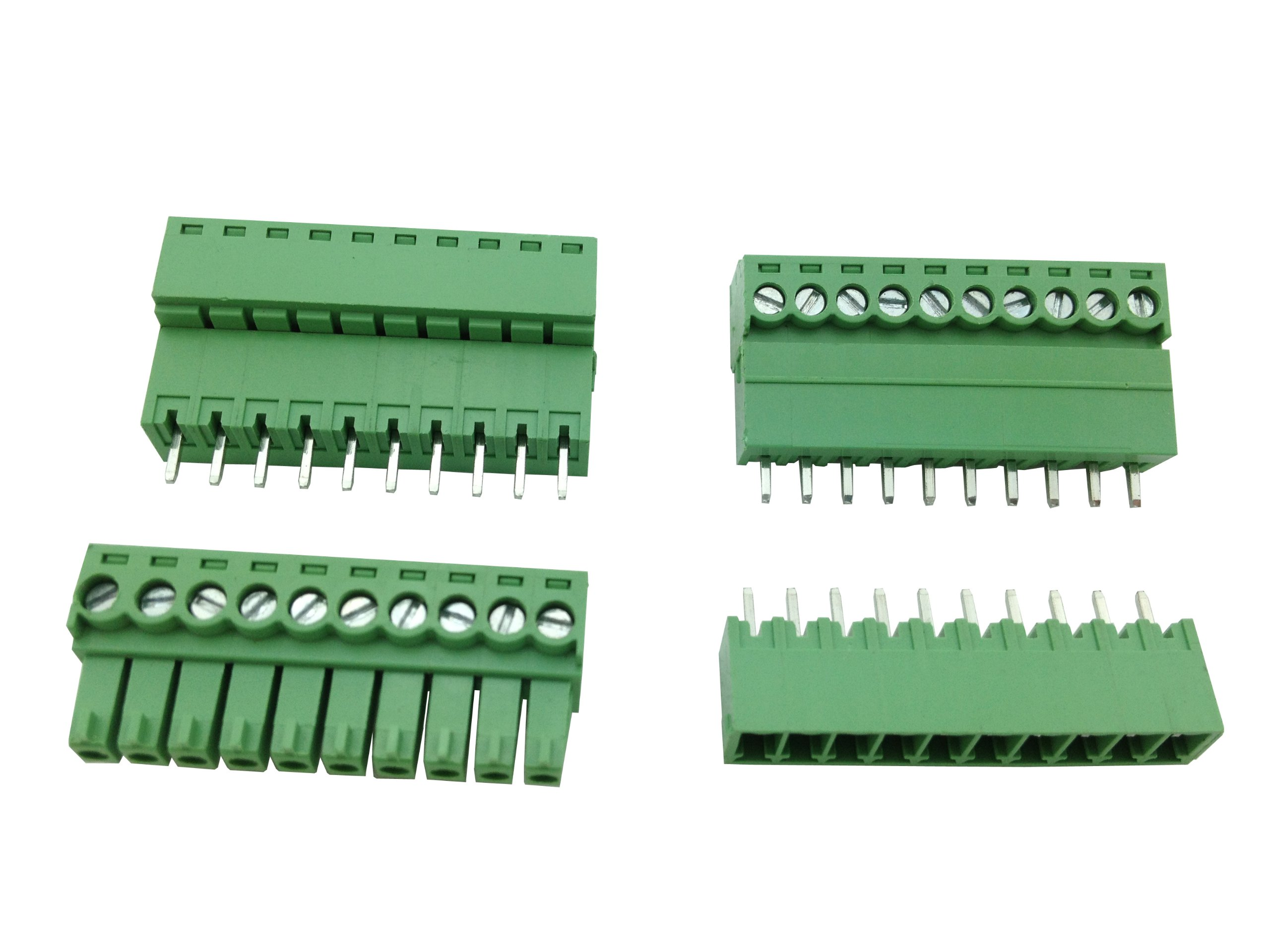 10 Pcs Pitch 3.5mm 10way/pin Screw Terminal Block Connector w/ Straight-pin Green Color Pluggable Type Skywalking