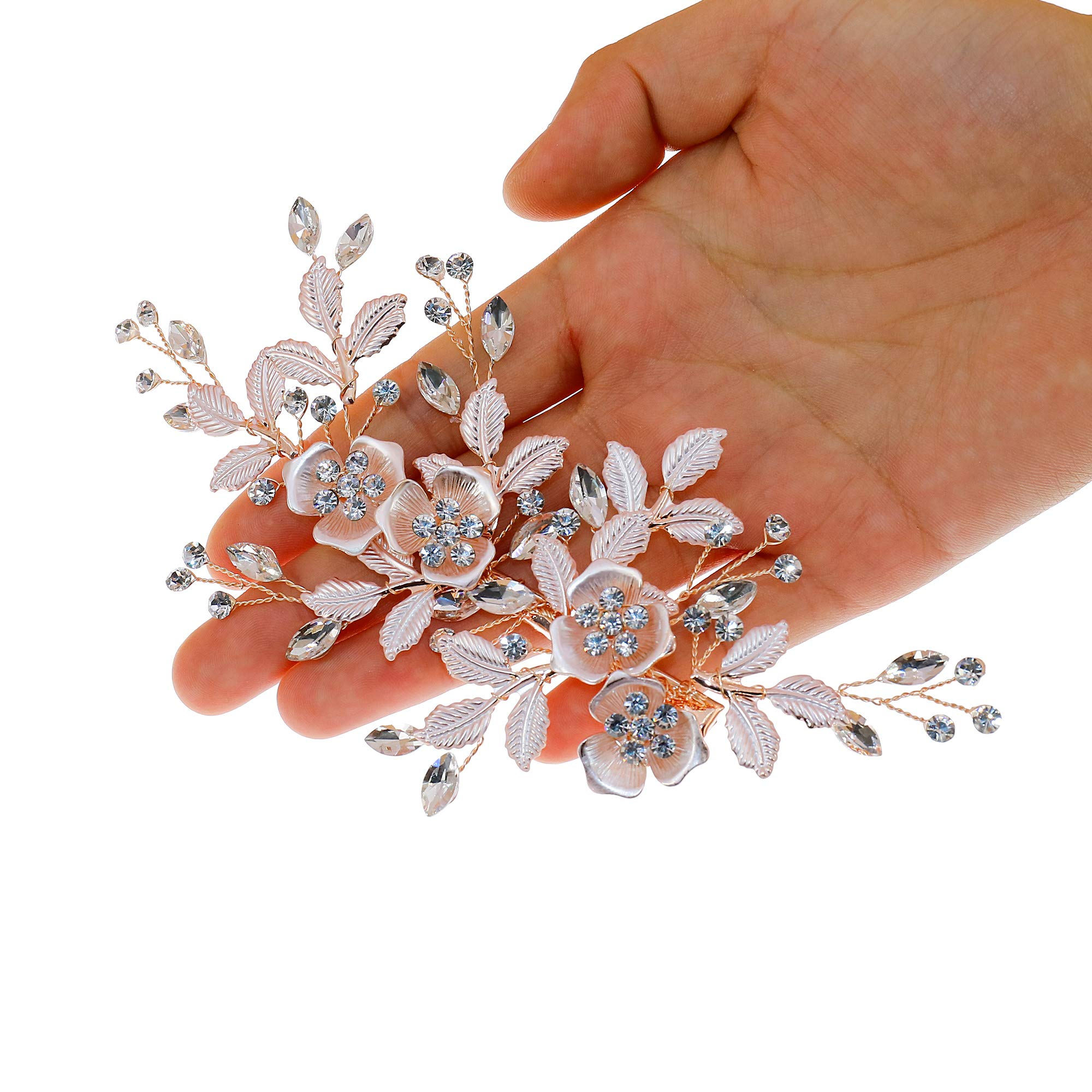 Flower Hair Clip Barrate Birthday Wedding Prom Girl Women Hair Piece Accessory, Leaf Paves, Rose Gold (Rose Gold #1)