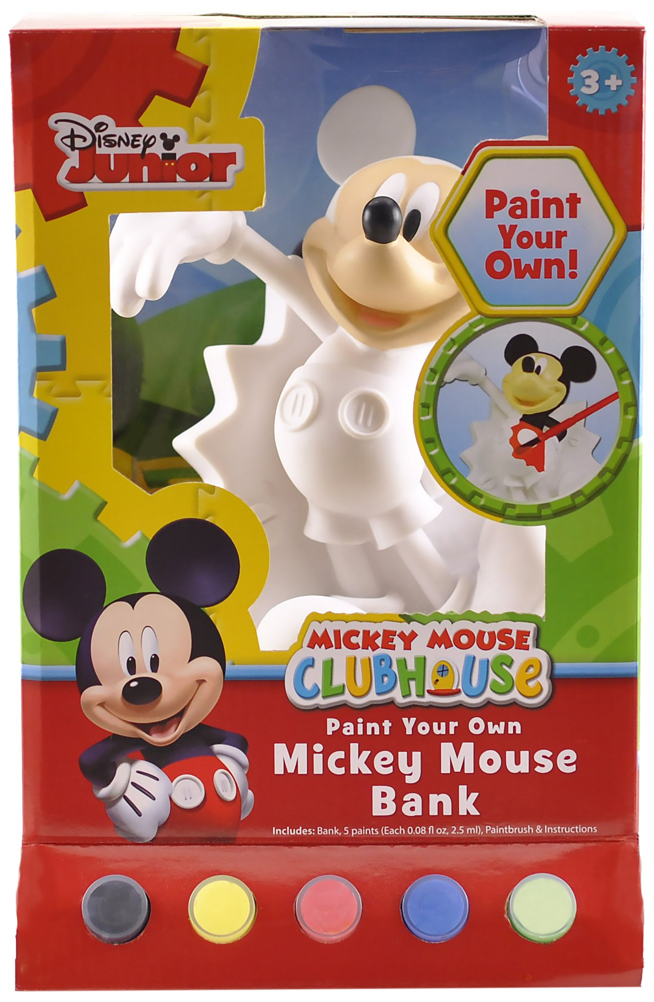 FlexOhh! Mickey Figural Coin Bank, Unpainted