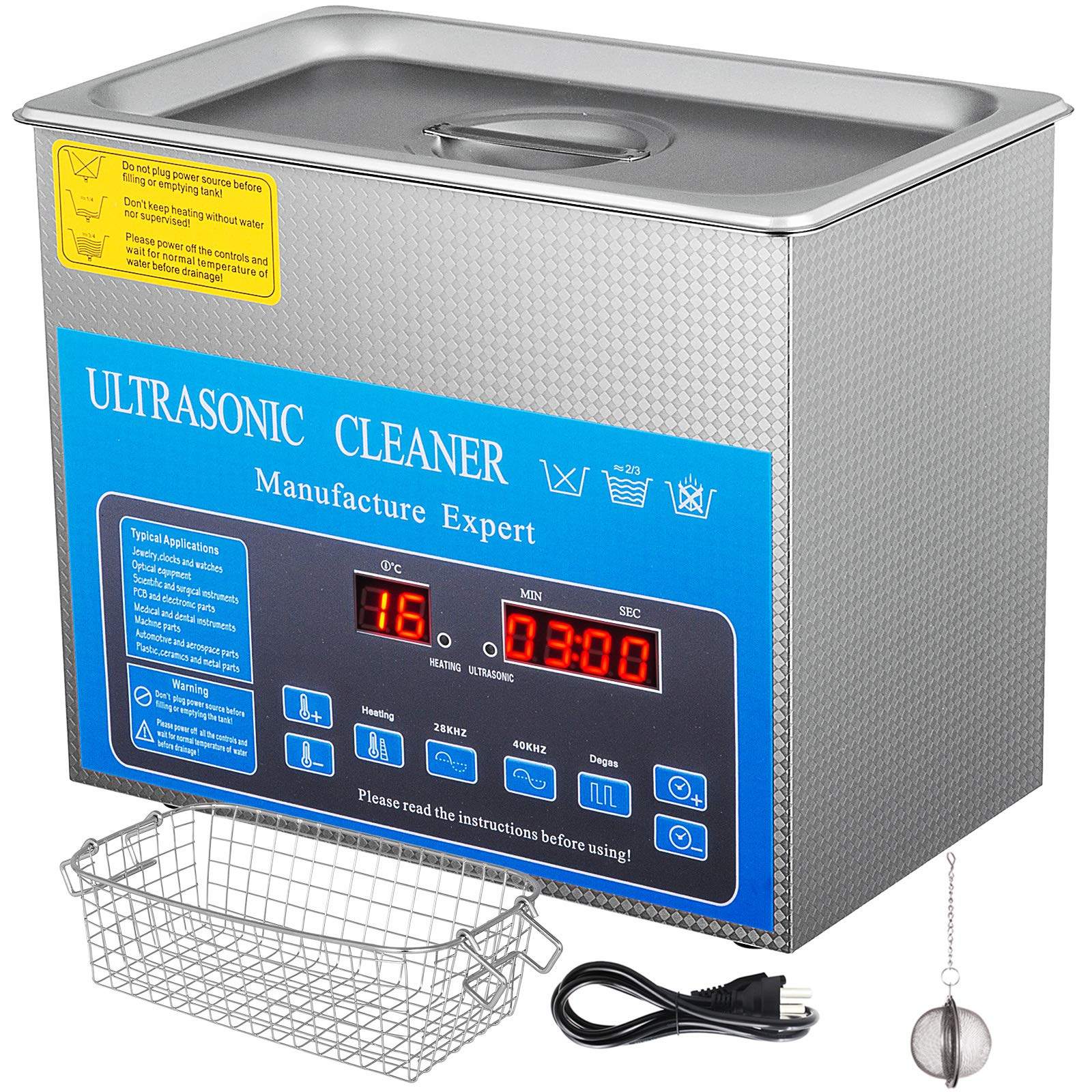 Mophorn 28/40khz Dual Frequency Ultrasonic Cleaner 304 Stainless Steel Digital Lab Ultrasonic Cleaners with Heater Timer for Jewelry Watch Glasses Circuit Board Small Parts Dental Instrument (3L)