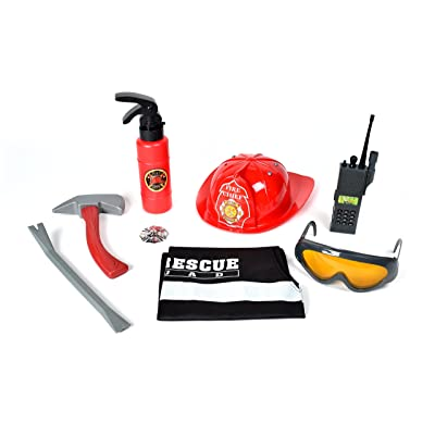 Deluxe Firefighter Play Set – Fireman Dress Up Costume   Fire Fighter Toy Set for Pretend Play   Fire Extinguisher Sprays Water – Maxx Action: Toys & Games